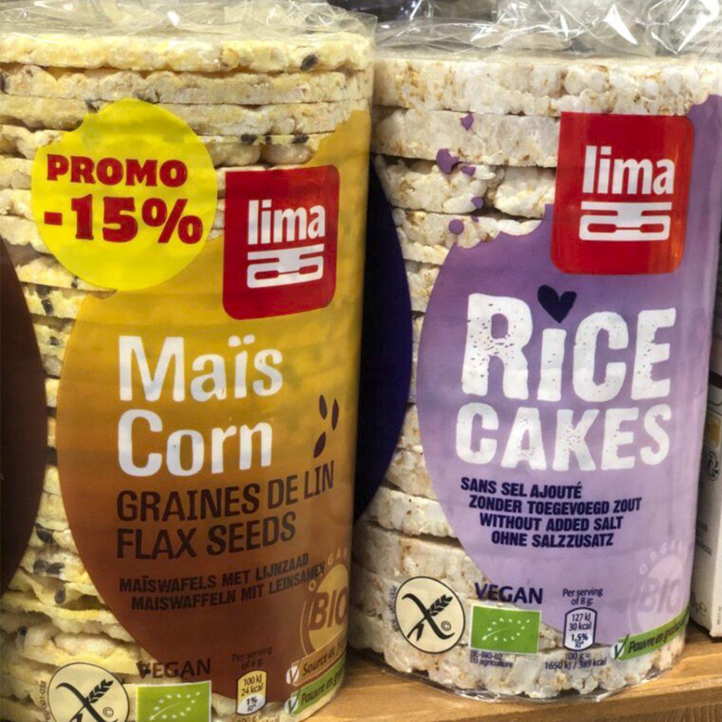 Tortitas de maíz y arroz. Sin gluten