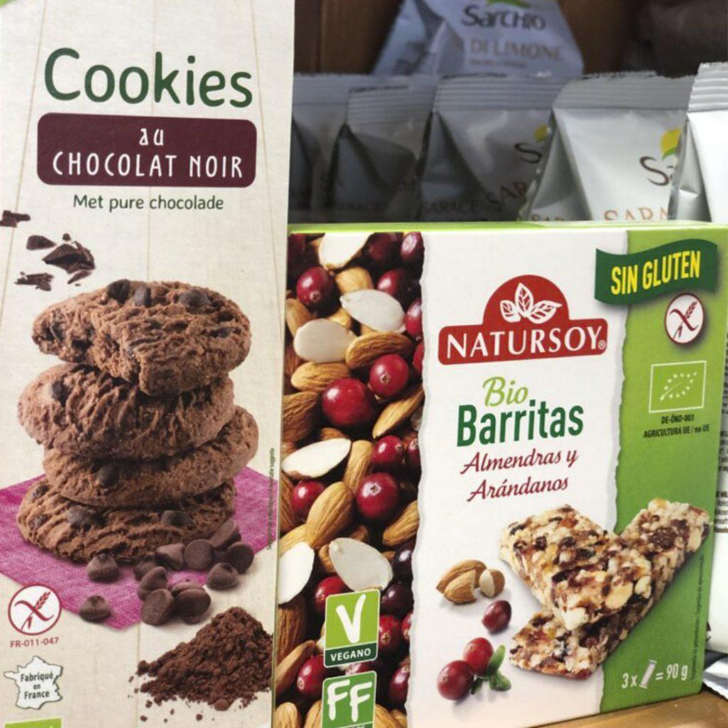 Cookies de Chocolate  y Barritas energéticas sin gluten